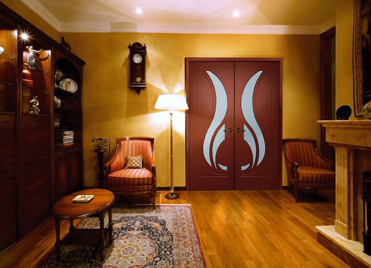 Покрытие двери шпоном